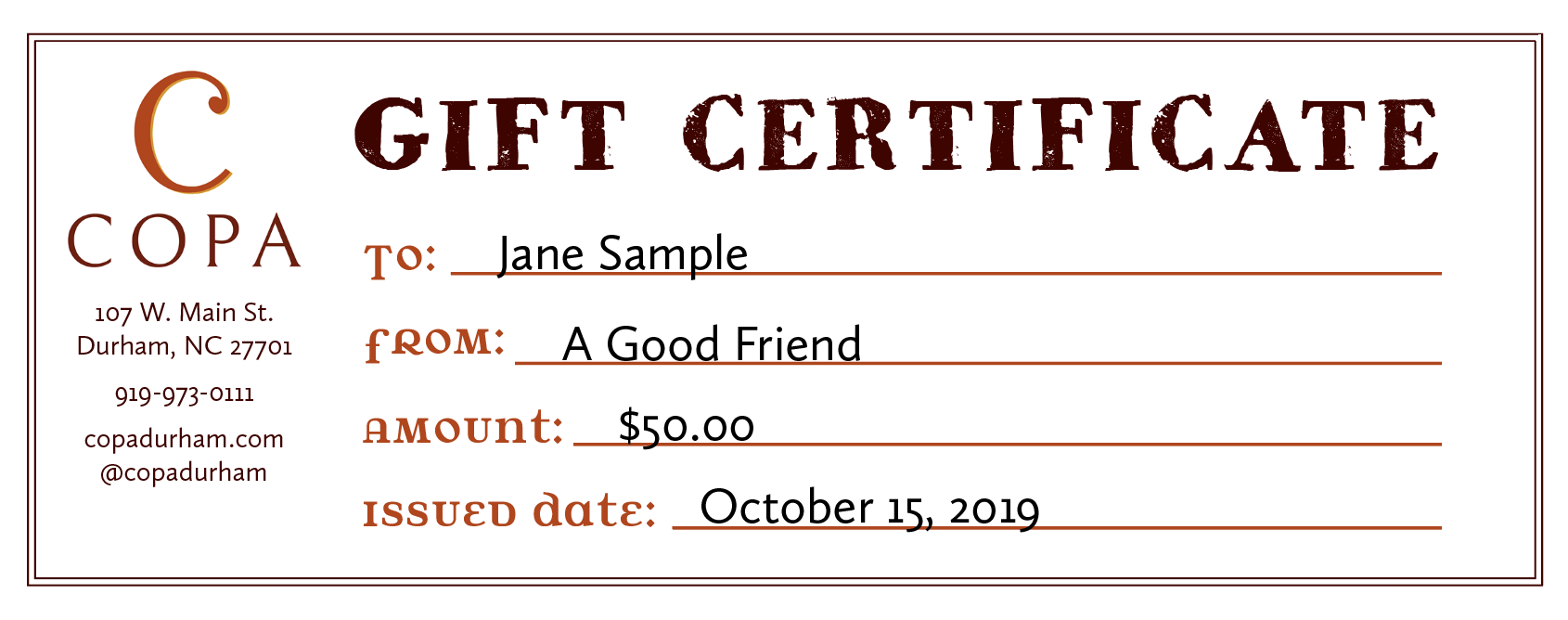 Copa GiftCertificate Sample